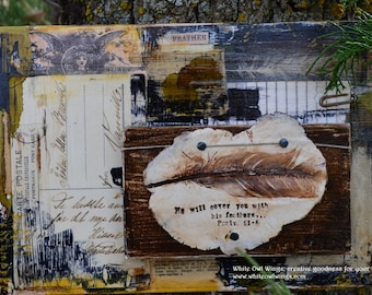 His Feathers mixed media collage with clay feather impression Psalm 91 4
