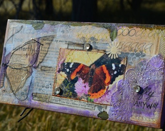 Butterfly Wings, Butterfly Wall Art, mixed media collage on wood by Jodene Shaw 5 x 10.5 inches