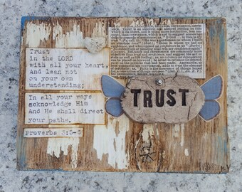 TRUST Bible Verse Sign by Jodene Shaw with blue butterfly wings
