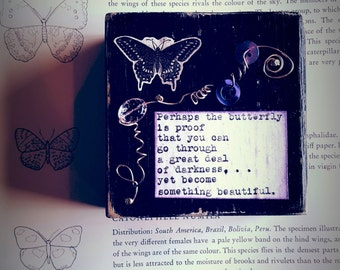 The Butterfly Is Proof Black and Purple Collage Assemblage by Jodene Shaw
