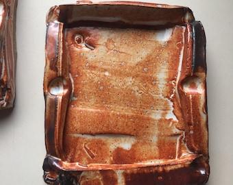 Shino glazed chunky wabi sabi plate with thick frame, Expressionist  studio ceramics, modern folk art  pottery, handmade pottery, sushi