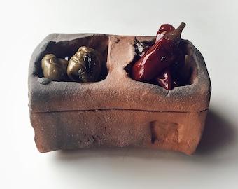 Wood fired salt cellar, expressionist pottery, studio pottery, modern folk art, hippie modern, northern New Mexico potter, ceramic art