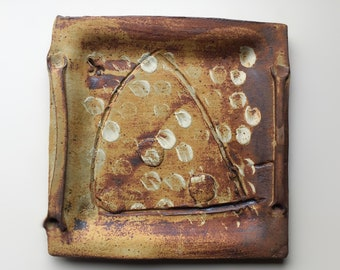 Ceramic serving platter with white slip markings, Stoneware, studio ceramics, modern folk art pottery, handmade tableware, rustic modern