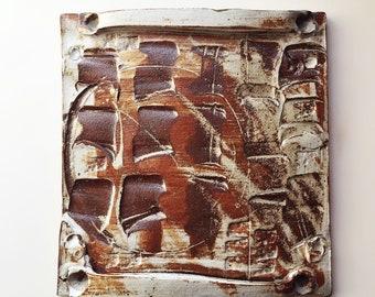 Ooak Rustic Modern Landscape inspired ceramic platter, expressive markings, desert pottery, studio ceramics, modern folk art, expressionist