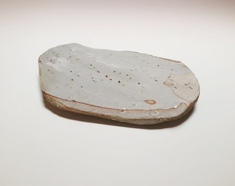 One of a kind, ceramic cheese platter, sushi plate, white stoneware, hippie modern, New Mexico made, desert landscape, studio pottery
