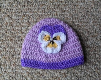 Purple Pansy Beenie
