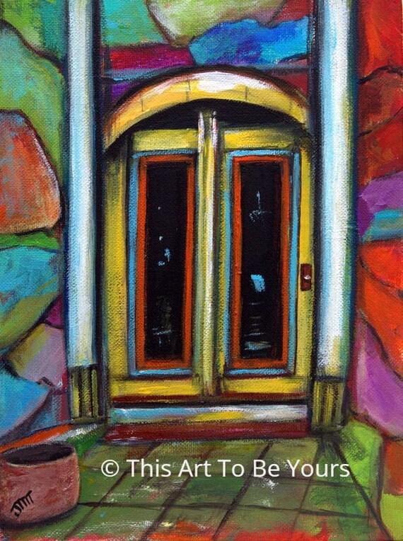Door Painting Yellow Door Art Abstract Door Art Art Deco   Etsy