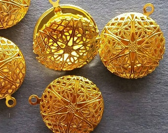 Filligree Locket Round Aged yellow & rose gold 20x5mm (PHC1040) for your projects- 1 locket