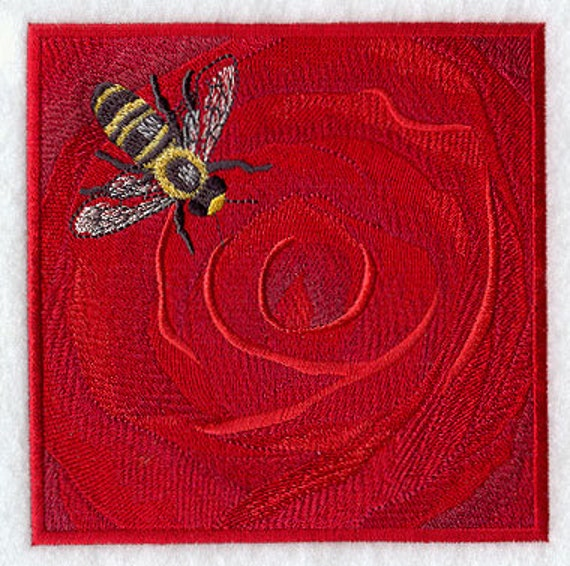 Rose Embroidered Towels: Bee And Rose Embroidered Flour Sack Hand/Dish Towel
