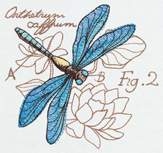 Dragonfly Diagram Embroidered Flour Sack Handdish Towel Etsy