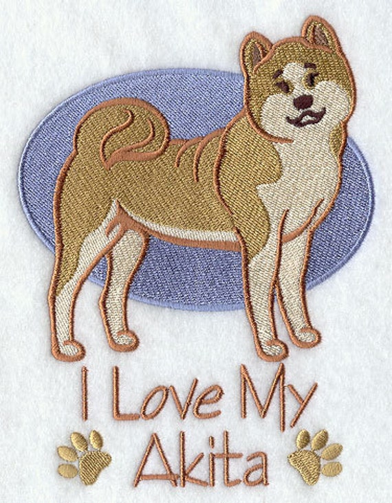 I Love My Akita Embroidered Waffle Weave Hand Dish Towel Etsy