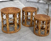 Vintage Wicker Bamboo Rattan Set of Three Cylindrical Nesting Side Tables