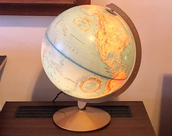 "Vintage Illuminated 12""  Raised Relief Replogle Globe - WORLD PREMIER SERIES - Night Light - 1980s"