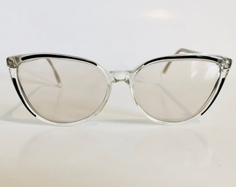 f20823284c46 Vintage Sunglasses Clear Frames with Winged Black Details, Cat Eye, Lightly  Tinted Lenses, Foto Optika, Aneta 140