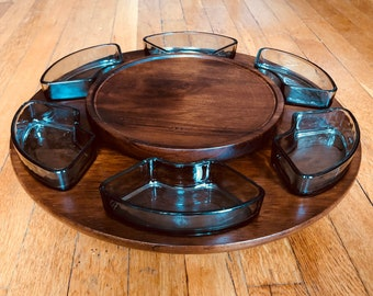 Mid Century Lazy Susan with Six Smoked Glass Serving Bowls,Solid Wood, Danish, Mid Century Server