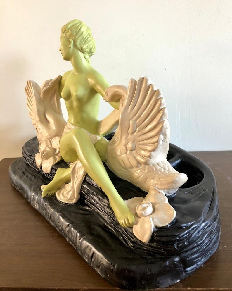 Accent Lamp Vintage Louis M Chalkware Green Goddess Swans Rare Fielack TV Lamp