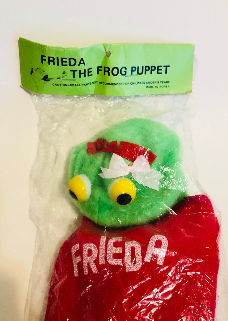 Frog Toy Vintage Frieda the Frog Hand Puppet in Original Packaging Dead Stock