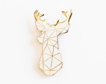 98e52ac6202 Stag Brooch Pin Badge White Boutonniere Geometric
