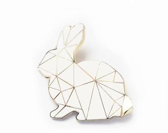 1cb328d429e White Rabbit Brooch Pin Harlequin Bunny Enamel Geometric