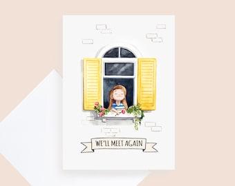WINDOW Greetings Card - MISS YOU - Lockdown