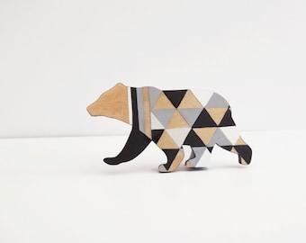Geometric Black Bear Brooch - Harlequin Wooden Bear Pin
