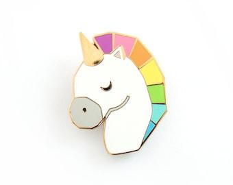 Unicorn Pin Rainbow Geometric Brooch