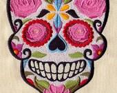HERS Dia de los Muertos Sugar Skull Halloween Embroidered Terry Cloth Bath Towel