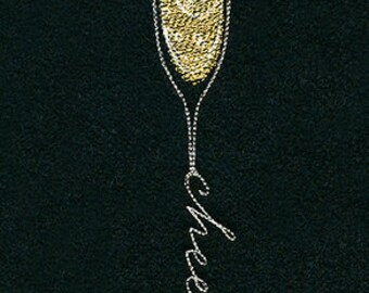Starlight Champagne New Years Embroidered Waffle Weave HandDish Towel