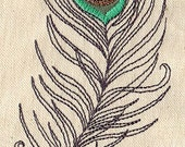 Peacock Plume Embroidered Waffle Weave Towel