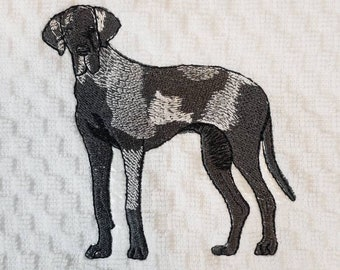 Great Dane in a Tub Embroidered Waffle Weave HandDish Towel