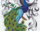 Peacock Flourish Embroidered Waffle Weave Towel