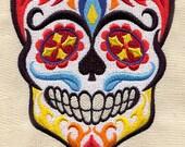 HIS Dia de los Muertos Sugar Skull Halloween Embroidered Terry Cloth Bath Towel