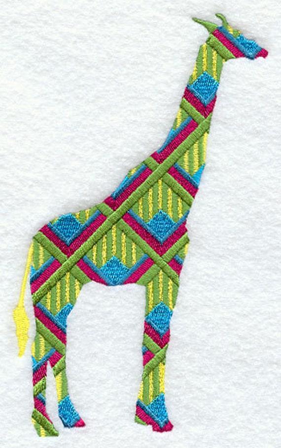 Patrón jirafa bordada toalla de mano/plato de saco de harina