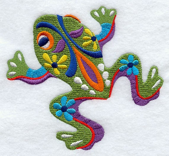Rana Frog Mexican Culture Embroidered Flour Sack Hand