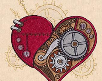 Mechanical Elaborate Heart Steampunk Embroidered Flour Sack Hand/Dish Towel