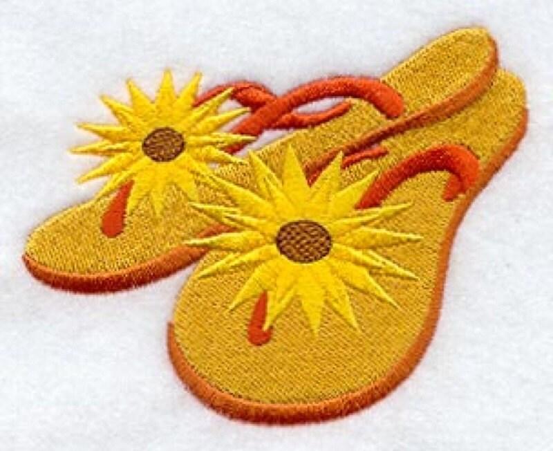 Sunflower Flip Flops Embroidered Flour Sack Handdish -8719