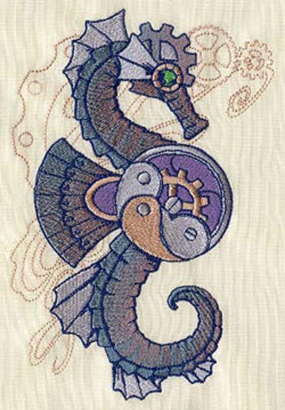 Aquatica Steampunk Seahorse Embroidered Flour Sack Handdish Etsy