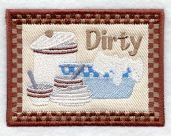 Dirty Dishes Embroidered Flour Sack Hand Towel