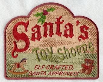 Santa's Village Signs - Santa's Toy Shoppe Embroidered Flour Sack Hand/Dish Towel