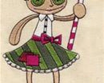 Holly Dolly Primitive Christmas Doll Embroidered Flour Sack Hand/Dish Towel