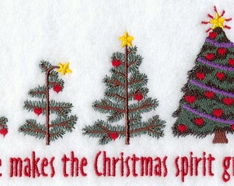 Love Makes the Christmas Spirit Grow Embroidered Flour Sack Hand/Dish Towel