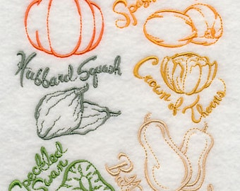 Squash and Gourd Collection Embroidered Flour Sack Hand Towel