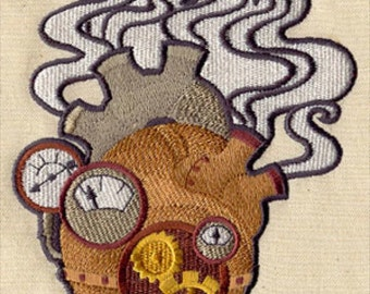 Mechanical Heart Steampunk Embroidered Flour Sack Hand/Dish Towel