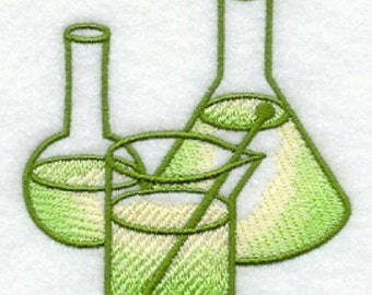 Science Beakers Embroidered Flour Sack Hand/Dish Towel
