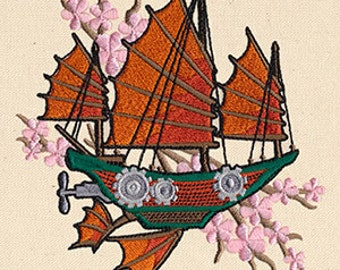Asian Cherry Blossom Steampunk Airship Dirigible Embroidered Flour Sack Hand/Dish Towel