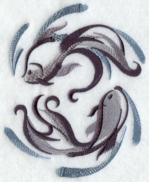 Sumi E Peces Koi Yin Yang Bordada Toalla De Manoplato De Saco Etsy