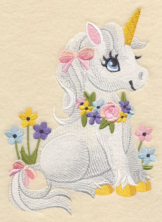 Soft And Sweet Unicorn Embroidered Flour Sack Hand Dish
