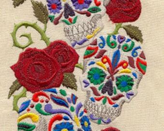 Calavera Sweet Skulls Mexican Culture Dia De Los Muertos Embroidered Waffle Weave Towel