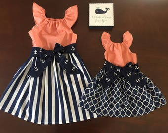 68471046614 Girls Easter Beach Dress Navy Coral White Anchor Nautical 3 6 12 18 24 2t  3t 4t 5 6 7 8 9 10 Family Pictures Sister Dresses Sibling Outfits