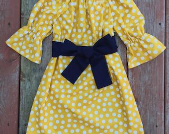 Girls Fall Mustard Yellow Polka Dot Peasant Dress with Sash 6 12 18 24 2T 3T 4T 5/6 7/8 9/10 11/12